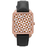 TRIANGLE1 WHITE MARBLE & RUSTED METAL Rose Gold Leather Watch  Front