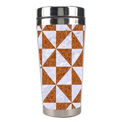 Triangle1 White Marble & Rusted Metal Stainless Steel Travel Tumblers by trendistuff