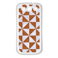 TRIANGLE1 WHITE MARBLE & RUSTED METAL Samsung Galaxy S3 Back Case (White)