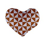 TRIANGLE1 WHITE MARBLE & RUSTED METAL Standard 16  Premium Flano Heart Shape Cushions Front