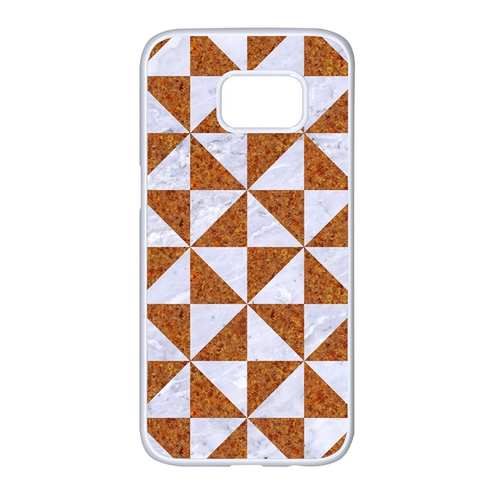 TRIANGLE1 WHITE MARBLE & RUSTED METAL Samsung Galaxy S7 edge White Seamless Case