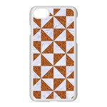TRIANGLE1 WHITE MARBLE & RUSTED METAL Apple iPhone 7 Seamless Case (White) Front