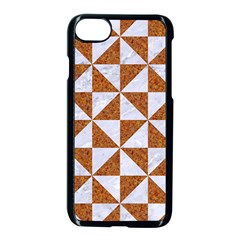 TRIANGLE1 WHITE MARBLE & RUSTED METAL Apple iPhone 8 Seamless Case (Black)
