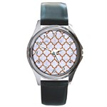 TILE1 WHITE MARBLE & RUSTED METAL (R) Round Metal Watch
