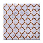 TILE1 WHITE MARBLE & RUSTED METAL (R) Tile Coasters
