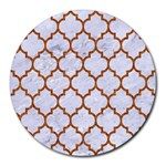 TILE1 WHITE MARBLE & RUSTED METAL (R) Round Mousepads