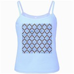 TILE1 WHITE MARBLE & RUSTED METAL (R) Baby Blue Spaghetti Tank