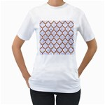 TILE1 WHITE MARBLE & RUSTED METAL (R) Women s T-Shirt (White) (Two Sided)