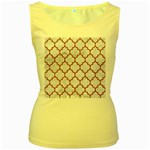TILE1 WHITE MARBLE & RUSTED METAL (R) Women s Yellow Tank Top