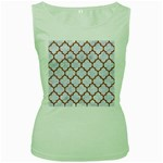 TILE1 WHITE MARBLE & RUSTED METAL (R) Women s Green Tank Top