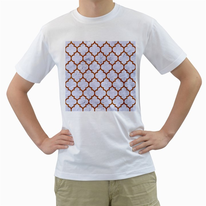 TILE1 WHITE MARBLE & RUSTED METAL (R) Men s T-Shirt (White) (Two Sided)