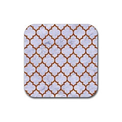 Tile1 White Marble & Rusted Metal (r) Rubber Coaster (square)