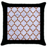 TILE1 WHITE MARBLE & RUSTED METAL (R) Throw Pillow Case (Black)