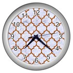 TILE1 WHITE MARBLE & RUSTED METAL (R) Wall Clocks (Silver)  Front