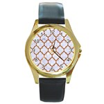 TILE1 WHITE MARBLE & RUSTED METAL (R) Round Gold Metal Watch