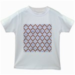 TILE1 WHITE MARBLE & RUSTED METAL (R) Kids White T-Shirts