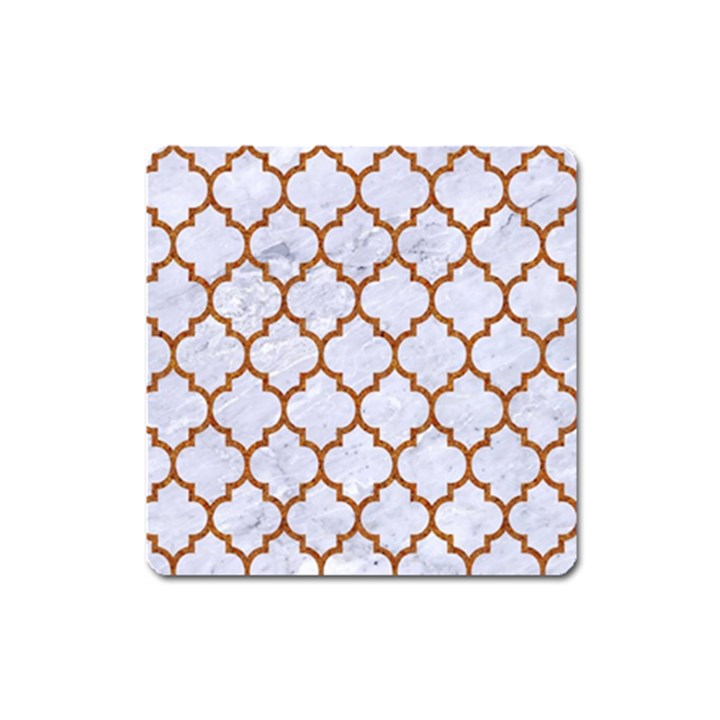 TILE1 WHITE MARBLE & RUSTED METAL (R) Square Magnet