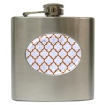 TILE1 WHITE MARBLE & RUSTED METAL (R) Hip Flask (6 oz) Front