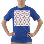 TILE1 WHITE MARBLE & RUSTED METAL (R) Dark T-Shirt Front
