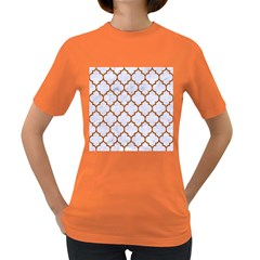 Tile1 White Marble & Rusted Metal (r) Women s Dark T Shirt