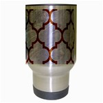 TILE1 WHITE MARBLE & RUSTED METAL (R) Travel Mug (Silver Gray) Center