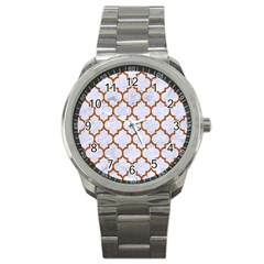 Tile1 White Marble & Rusted Metal (r) Sport Metal Watch