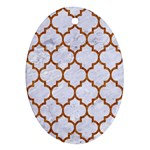 TILE1 WHITE MARBLE & RUSTED METAL (R) Oval Ornament (Two Sides) Back