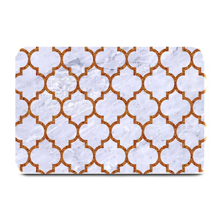 TILE1 WHITE MARBLE & RUSTED METAL (R) Plate Mats