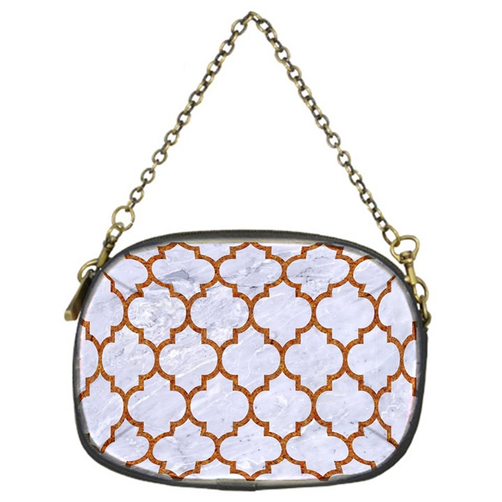 TILE1 WHITE MARBLE & RUSTED METAL (R) Chain Purses (One Side)