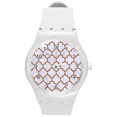 Tile1 White Marble & Rusted Metal (r) Round Plastic Sport Watch (m) by trendistuff