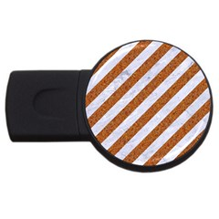 Stripes3 White Marble & Rusted Metal (r) Usb Flash Drive Round (2 Gb) by trendistuff