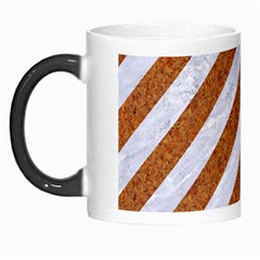 Stripes3 White Marble & Rusted Metal (r) Morph Mugs by trendistuff