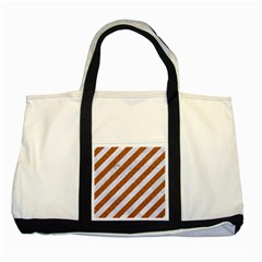 Stripes3 White Marble & Rusted Metal (r) Two Tone Tote Bag by trendistuff