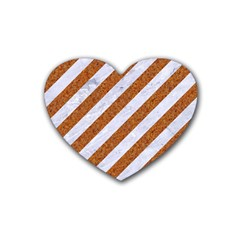 Stripes3 White Marble & Rusted Metal (r) Rubber Coaster (heart)  by trendistuff