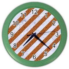 Stripes3 White Marble & Rusted Metal (r) Color Wall Clocks by trendistuff
