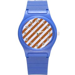 Stripes3 White Marble & Rusted Metal (r) Round Plastic Sport Watch (s) by trendistuff
