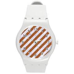 Stripes3 White Marble & Rusted Metal (r) Round Plastic Sport Watch (m) by trendistuff
