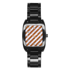 Stripes3 White Marble & Rusted Metal (r) Stainless Steel Barrel Watch by trendistuff