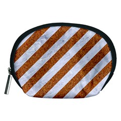 Stripes3 White Marble & Rusted Metal (r) Accessory Pouches (medium)  by trendistuff