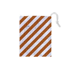 Stripes3 White Marble & Rusted Metal (r) Drawstring Pouches (small)  by trendistuff