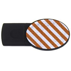 Stripes3 White Marble & Rusted Metal Usb Flash Drive Oval (4 Gb) by trendistuff