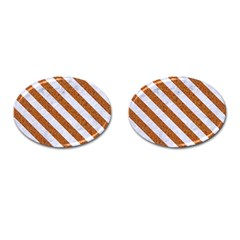 Stripes3 White Marble & Rusted Metal Cufflinks (oval) by trendistuff