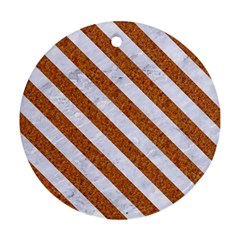 Stripes3 White Marble & Rusted Metal Round Ornament (two Sides) by trendistuff