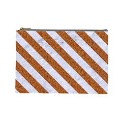 Stripes3 White Marble & Rusted Metal Cosmetic Bag (large)  by trendistuff