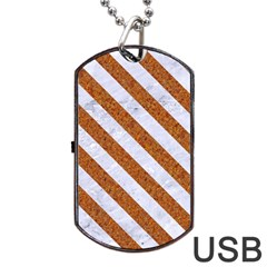 Stripes3 White Marble & Rusted Metal Dog Tag Usb Flash (two Sides) by trendistuff
