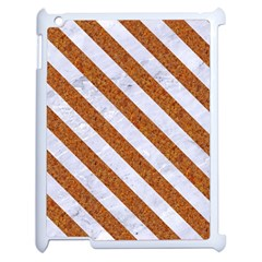 Stripes3 White Marble & Rusted Metal Apple Ipad 2 Case (white) by trendistuff