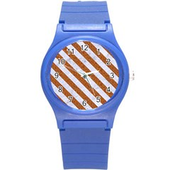 Stripes3 White Marble & Rusted Metal Round Plastic Sport Watch (s) by trendistuff