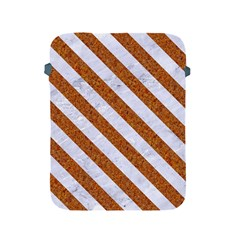 Stripes3 White Marble & Rusted Metal Apple Ipad 2/3/4 Protective Soft Cases by trendistuff