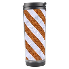 Stripes3 White Marble & Rusted Metal Travel Tumbler by trendistuff
