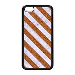 Stripes3 White Marble & Rusted Metal Apple Iphone 5c Seamless Case (black) by trendistuff
